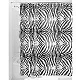 InterDesign Zebra Duschvorhang | Designer Duschvorhang mit Animal-Print| schöner Badewannenvorhang 183,0 cm x 183,0 cm im Safari-Look | Polyester schwarz/weiß