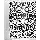 InterDesign Zebra Cortina de baño   Cortina de ducha de diseño con estampado animal   Bonitas cortinas para baño 183,0 cm x 183,0 cm con look safari   Poliéster negro/blanco