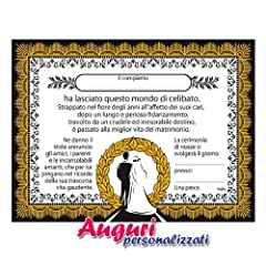 Idea Regalo - Tabella matrimonio epigrafe addio al celibato