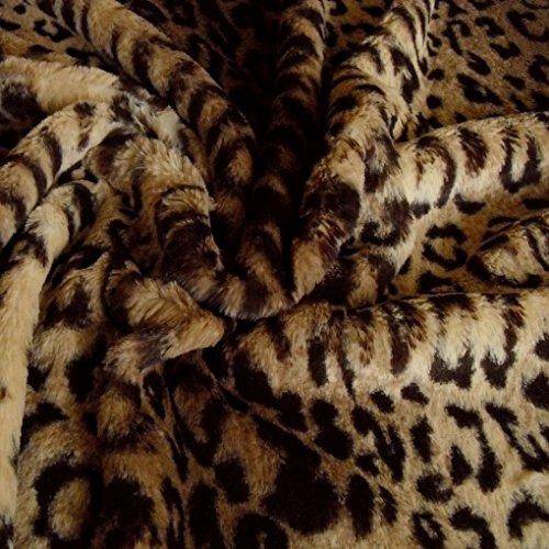 50cm Leopard Kunstfell Fellimitat Teddy Plüschstoff Webpelz- weich - Meterware am Stück (Teddies Leopard)