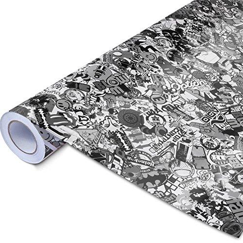 Stickerbomb Folie - Alle Designs - alle Größen! Ob Glänzend oder matt, bunt oder schwarz/weiß! Für blasenfreies 3D Car Wrapping mit echten Marken Sticker Bomb Logo Aufklebern- JDM (30x150cm, SD schwarz weiß matt)