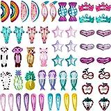 100 Stücke Mädchen Haarspangen Baby Mädchen Haarspangen Tier Gedruckt Muster Haarnadeln Metall Snap Haarspangen Haarspange für Mädchen Kleinkinder Kinder Damen