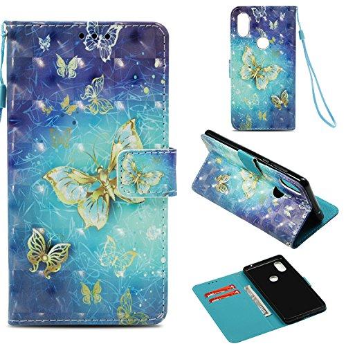"""Janeqi Teléfono Caso - para Xiaomi Mi Mix 2S(5.99"""") Funda Cáscara,Funda de Piel Pintada 3D Anti-caída Case Cover - G3/Mariposa Dorada"""