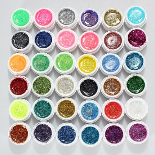 dancingnail-36-farbe-nagel-farbgel-mischung-glitzer-uv-aufbau-gel-kunst-nail-art-glittergel