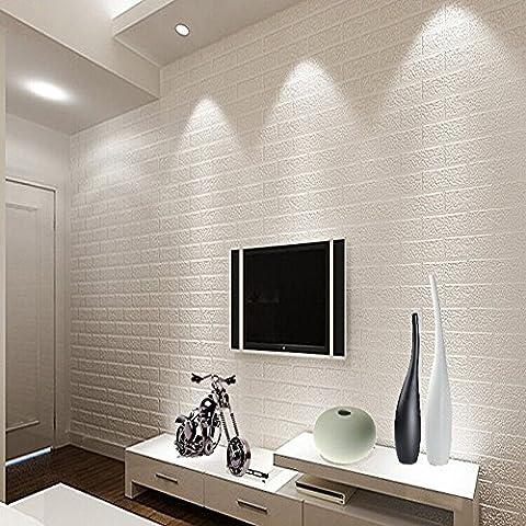QIHANG Papel pintado diseño de ladrillos blancos para paredes de estilo rústico 0,53m x 10m =