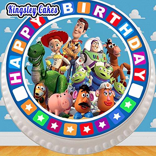 Cannellio Cakes vorgeschnittenen Essbarer Zuckerguss großen Kuchen Topper-19,1cm rund Toy Story alle The Gang mit Geburtstag Bordüre (Toy Story Cake Topper)
