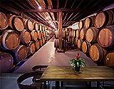 ADLFJGL Retro Wein Wein Wallpaper 3D Wood-Grain Eimer Wein Weinkeller Personalisiertes Hintergrundbild 200×140Cm Wallpaper