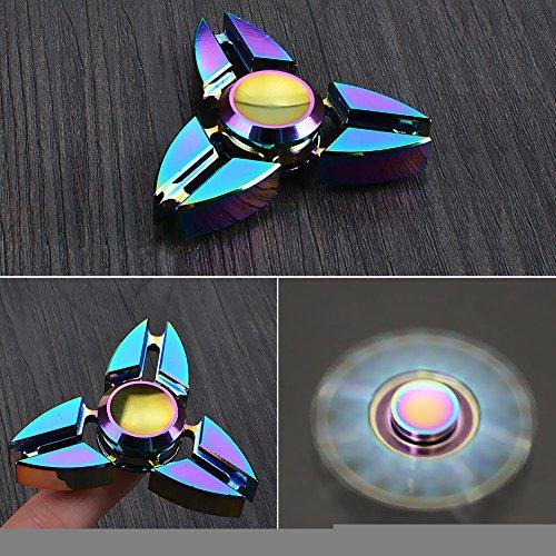 Hand Spinner Toy, Stillshine arco iris de colores de metal de alta velocidad Tri-Spinner juguete Spinner de mano Fidget EDC juguete de oficina para el estrés y alivio de ansiedad (D) - 5