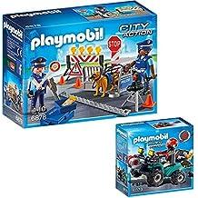 PLAYMOBIL Policia Set: 6878 Control policial & 6879 Ladrón con Quad y botín