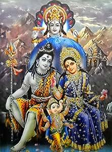 Lord Shiva Family With Vishnu Large Hindu God Poster With Glitter