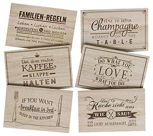 Grafik-Werkstatt Frühstücksbrettchen-Geschenkset, Holz, 32 x 21 x 6 cm, - Stehen Wand Teller