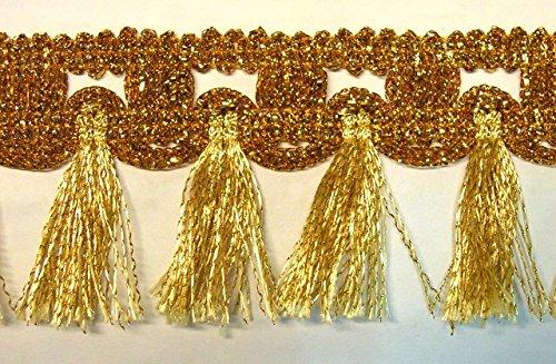 16,40m Fransen-Borte 5cm breit Farbe: Lurex-Gold TSL-1426-A-gold
