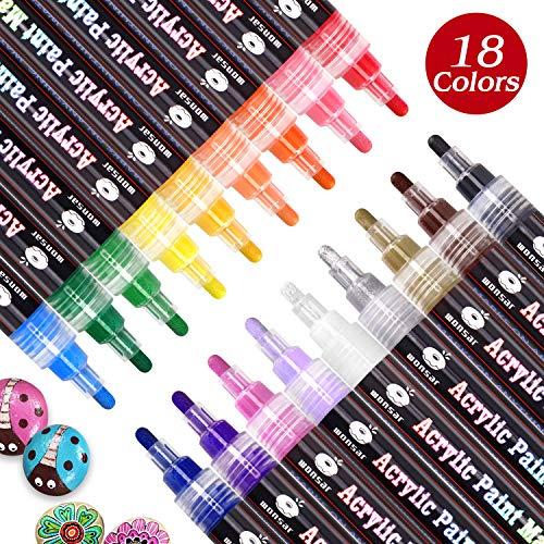 WONSAR Acrylstifte Marker Stifte, 18 Farben Wasserfest Paint Marker, Acrylstifte für Steine Bemalen Kinder DIY Keramik Glas Porzellan Metall Kunststoff Holz Leinwand mit Reversiblen Spitze