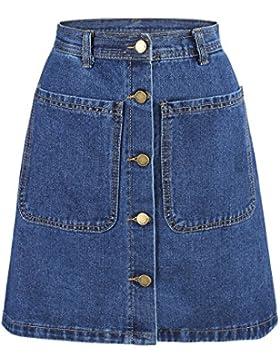 Yichaoyiliang Yichaoyiliang azul Oscuro Denim Faldas Mini Bolsillos Delanteros Botones de Metal Cierre de Verano...