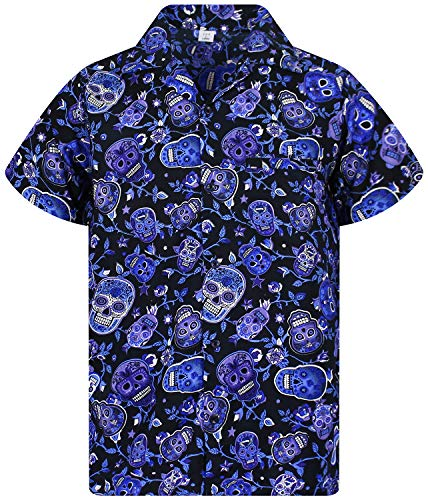 afc75dec895 Funky Camisa Hawaiana, Skull, blue, 4XL