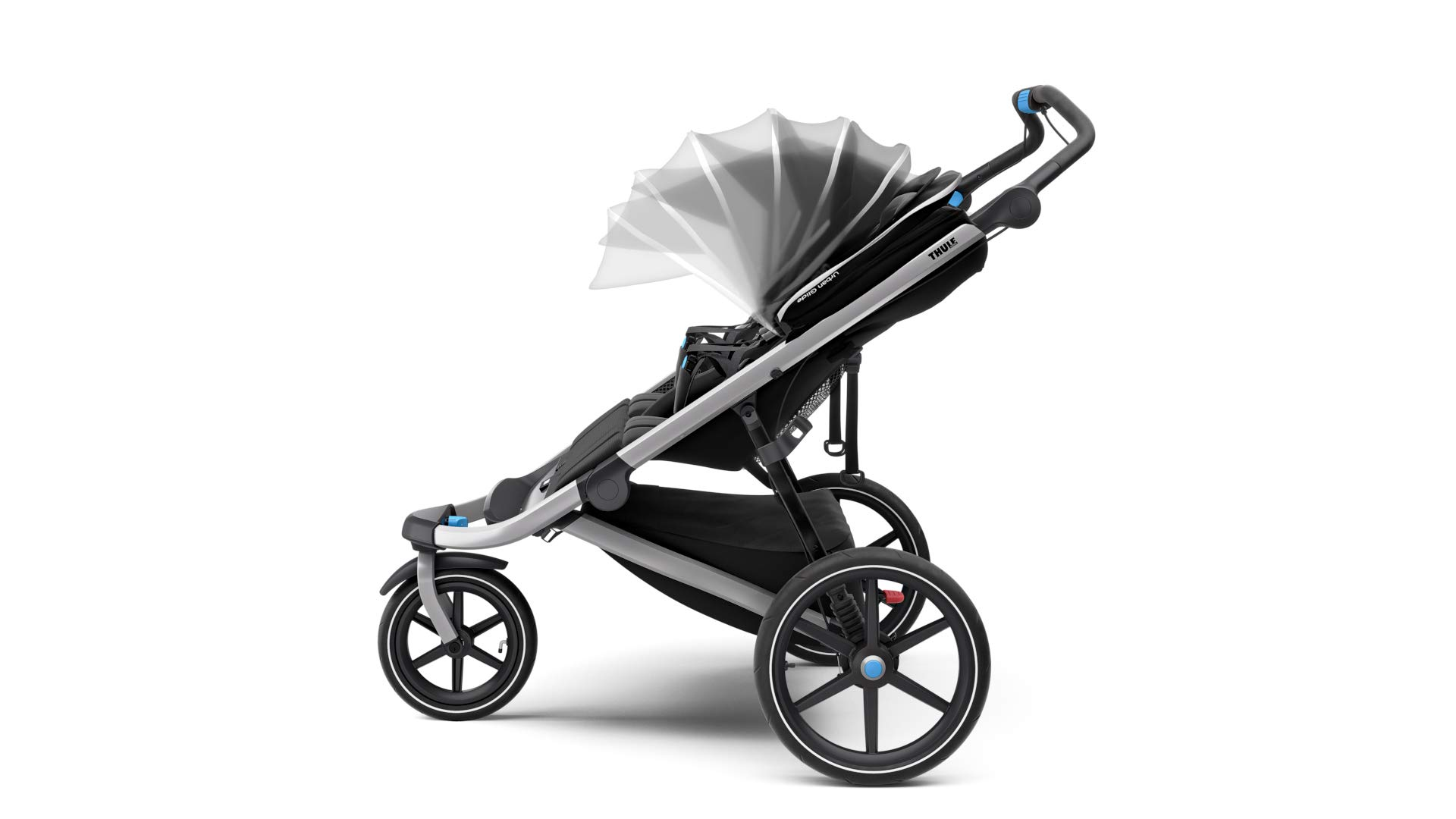 Thule Urban Glide 2.0 Jogging Stroller (Thule Blue w/Silver Frame) Thule One-handed, compact fold for easy storage and transportation Integrated twist hand brake provides speed control on hilly terrain Multi-position canopy with side-ventilation windows ensures your child is comfortable 9