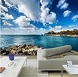 Mznm Fototapete mit blauem Himmel und weißen Wolken am Meer, 3D, für Wohnzimmer, TV, Sofa, Schlafzimmer, Hintergrund 200x140cm