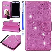 EUWLY Handy Schutzhülle für Huawei P8 Lite 2015 Handyhülle Bunt Schmetterling Glitzer Leder Hülle Brieftasche Ledertasche Book Case Klapphülle Handytasche Flip Case Cover,Rosa