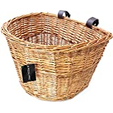 PedalPro Compact Vintage Wicker Bicycle Basket with Brown Leather Straps