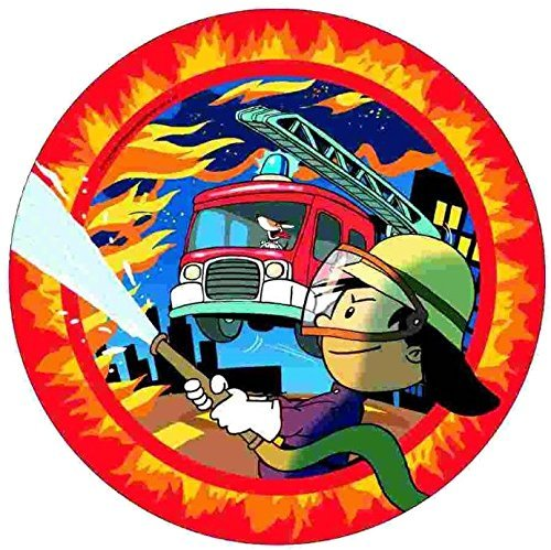 8-teiliges Teller-Set * FEUERWEHRMANN FLO * // Kindergeburtstag Kinder Geburtstag Feier Set Mottoparty Partygeschirr Deko Fest Party Motto Deko Teller Pappteller Feuerwehr Fireman (Lkw-party-teller)