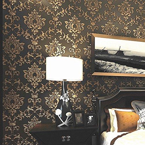 Blooming Wand: Vlies Elegantes europäischen Beflockung, Geprägte Struktur damasks Tapete Wand Wandbild Tapete für Wohnzimmer Schlafzimmer, 20,8in32.8FT = 57² FT, Gold/Schwarz