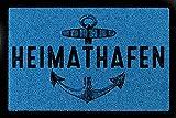 TÜRMATTE Fußmatte HEIMATHAFEN Maritim Eingang Einzug Flur Badezimmer Türvorleger Royalblau