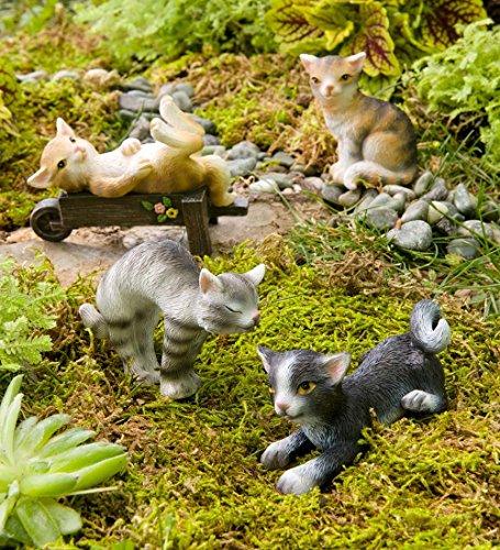 Figura decorativa, diseño de gatos en miniatura, juego de 4