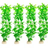 Aquarium Pflanzen, Comsun 4 pack künstliche Aquarienpflanzen, Wasserpflanzen, Aquarium Dekoration, Aquarium Gras, große Blätter, 10-10,6Zoll Kunststoff+Keramik Basis Grün