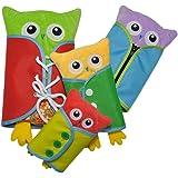 Bébé Jeu Educatif Apprentissage Habiller en peluche hiboux poupée jouets d'apprentissage éducation précoce base compétences de base enseignement jouets pour tout-petits-dentelle + bouton + zip + snap