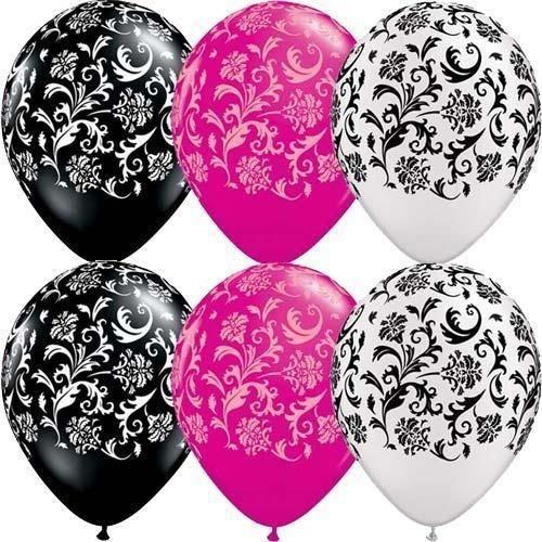 Damast Druck weiß, Schwarz & Rosa 27.9cm Qualatex Latexballons x 5