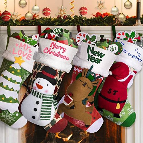 Joyjoz calza natalizia deluxe con pennarelli tricolore, calze natalizie personalizzate 3d grandi fatte a mano 53cm (4 pcs)