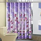 Schmetterlinge und Orchideen Duschvorhang Anti-Schimmel & Wasserdicht Polyester Duschvorhang mit Haken 120/150/180/200/220/240 x 200cm Lila