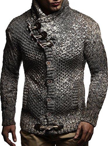 LEIF NELSON Herren Strickjacke Pullover Hoodie Sweatshirt Longsleeve Winterjacke Pulli Sweater Langarm LN20738; Größe S, Braun | 04250863684022