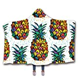 Nankod Mit Kapuze Sherpa Decke Warm Mantel 3D Digitaldruck Geometrische Winter Schal Ananas Blumenmuster Doppelschicht Verdickt Mantel Bettwäsche