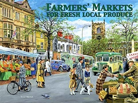 Farmer Market. Fresh local produce. In local market town, fruit and veg. Church, town centre. For house, home, bar or pub Large Metal/Steel Wall