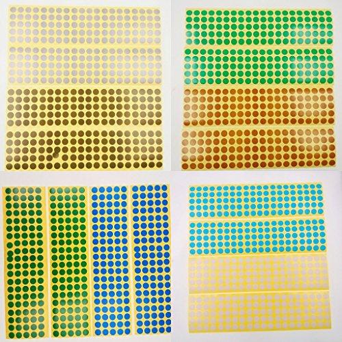 JZK 30 hojas 10 mm etiquetas adhesivas 15 colores pegatinas pequeñas de puntos redondos codificación de color etiquetas adhesivas etiquetas de puntos de colores marcando pegatinas