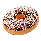 Aolvo Rundes Donut-Sitzkissen, gefüllter Kisseneinsatz, Füllung, Sofakissen, Plüsch-Spielzeug, Puppe für Zeichen-, Wohn-, Ess- oder Familienzimmer, Bürostuhl, Autositz, Baumwolle / Polyester, Ranbow Color, 40cm/15.7 inch; Thickness: 8cm/3.15 inch