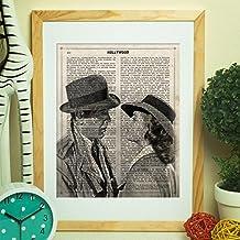 """Lámina para enmarcar """"Casablanca"""". Nacnic. Laminas decorativas para pared. Laminas estilo vintage. Laminas para enmarcar con imágenes de películas. Regalo creativo. Papel 250 gramos alta calidad"""