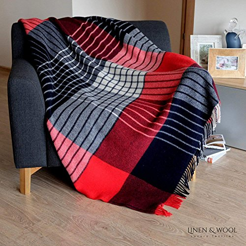 Linen & Cotton Flauschige Decke Wolldecke Bunt Wohndecke Kuscheldecke Maori - 100% Reine Neuseeland Wolle, Rot/Dunkelblau/Weiß (130 x 170 cm), Sofadecke/Tagesdecke/Überwurf/Plaid/Schurwolle -