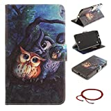 GOCDLJ Tablet Case for Samsung Galaxy Tab 4 7.0 Slim Protective Case, Samsung Galaxy Tab 4 7.0 Inch SM-T230 T231 T235 Ultrathin PU Leather Flip Cover, Anti Scratch Bumper Cover Wallet Fully Protective Build in Stand Function Folio Book Style with Internal Pattern Magnetic Holder Cash Pocket ID Card Slots Pouch Soft Silicone Backcover Backside Shell Artificial Sleeve + Chinese Style Red Bracelets Design The Owl Under the Tree