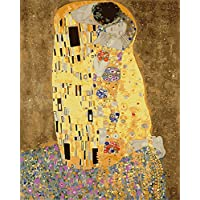 CaptainCrafts New Paint by Numbers 16x20  for Adults, Kids LINEN Canvas - Affectionate Kiss Romance Love, Golden Yellow (With Frame)