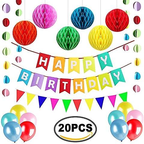 Outee 20 Pcs Geburtstagsfeier Dekorationen Set Alles Gute zum Geburtstag Bunting Banner Papier Wabe Bälle Dreieckige Flagge Banner Party Ballons mit einem Polka Dot Papier Girlande