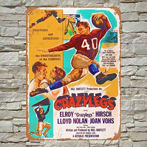 Snowae 1953 Crazylegs Fußball-Film, Metallplakat, rostfreies Aluminium, wetterfest, Dekoration, Retro, Vintage, Blechschild, 30,5 x 20,3 cm