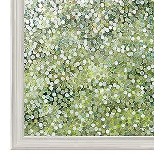 rabbitgoo 3D Fensterfolie Selbstklebend Sichtschutzfolie Statisch Dekofolie Kreise Muster Anti-UV 44.5 x 200 cm