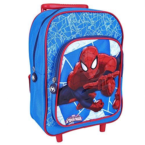 Trolley de niño Marvel Spiderman - Mochila con ruedas y correas para la escuela con estampado del Hombre Araña - Rojo y Azul - 31x23x13 cm - Perletti