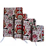 #3: Set Of 4 RED Owl Printed Diary Card Board Paper Handmade Paper Diary Notebook