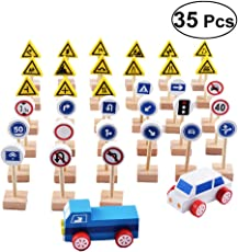 YeahiBaby 35pcs Wooden Street Signs Traffic Signs Playset Children's Educational Toys for Traffic Knowledge Learning