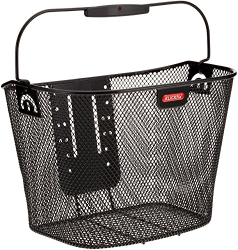 Fahrradkorb KLICKfix abnehmbar engmaschig schwarz für vorne mit Tragebügel und höhenverstellbarer Adapterplatte