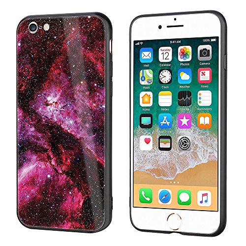 iphone 6 Tempered Glass Case,SUNWAY [Starry Sky][Scratch Resistant] 3 In 1 Ultra-Thin PC Hard Cover 360 Degree Protection Slim Case For Apple iphone 6 - Red