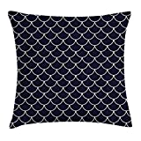 Kaixin J Navy Throw Pillow Cushion Cover, Shell Pattern with Half Circled Lines Like Ocean Waves Nautical Modern Illustration, Decorative Square Accent Pillow Case, 18 X 18 inches, Indigo White